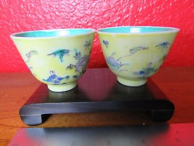 Rare 2 Chinese vintage yellow porcelain teacups with mark
