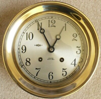 """CHELSEA SHIP'S BELL 8-day, 6"""" dial CLOCK w/ KEY, 1972, Solid Brass, *FREE SHIP!*"""