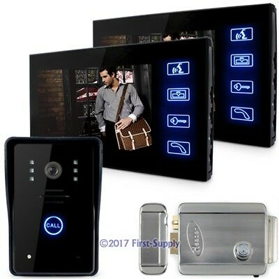 """7"""" LCD Video Door Phone Doorbell Touch Key IR Camera 1V 2 With Electronic Lock"""