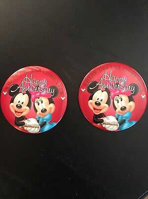 "2- Disney WDW Buttons ""Happy Anniversary"" Wedding (RETIRED) HTF Mickey Minnie"