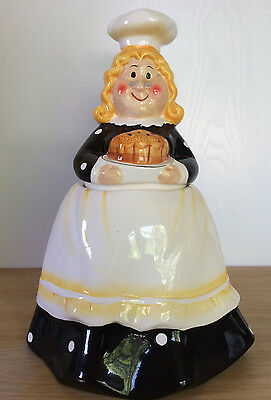 Ceramic Granny Grandma Cookie Jar Black Long Dress White Apron Holding Cake