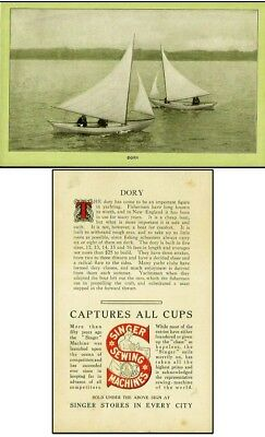 """Large Singer Sewing Machines Paper Card - Photo Of """"the Dory"""" 1904"""