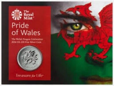 2016 Fine Silver £20 Coin The Welsh Dragon UK Royal Mint Sealed