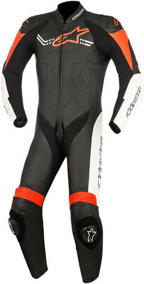 Alpinestars CHALLENGER v2 1-Piece Leather Riding Suit (Black/White/Fluo Red)