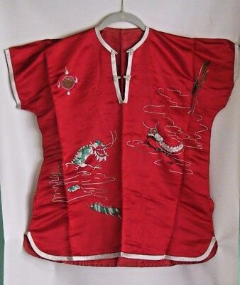 Chinese Mandarin 2 Piece Outfit For Adult ~ Embroidered ~ Red Satin ~ Vg
