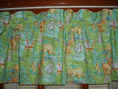 premade BEAR RABBIT lined ANIMAL Valance with LITTLE FOREST Cathy Heck fabric