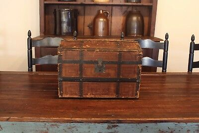 Early Aafa Antique Folk Art Doll Trunk Dome Top Lithograph Paper Interior Tray