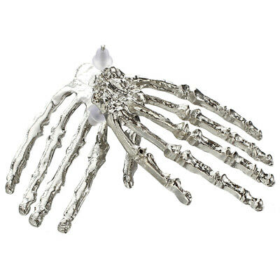 Cool Punk Gothic Big Skeleton Hand Silver Stud Earring--1 Pair D4H8 P4J1