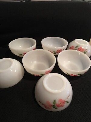 7 Oven Ware Fire King Milk Glass Bowl Pink Blossom Hand Painted Flowers