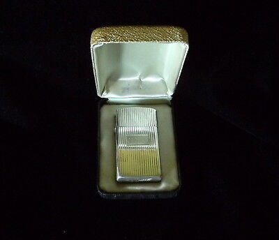 Vintage Sterling Slim Line Zippo Lighter In Own Box Monogram