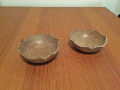 Pair of vintage wooden bowls