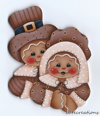 HP GINGERBREAD Pilgrims Thanksgiving FRIDGE MAGNET