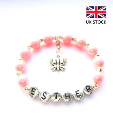 Personalised New Baby Girl Pink Butterfly Bracelet Birthday/christening–Any Name