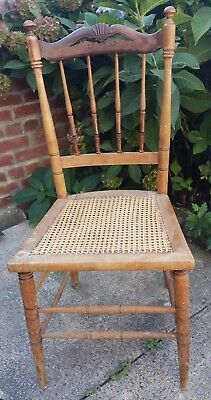 Antique Kitchen Dining Chair Vintage Wood Spindle Back Caned Seat 36'' x 17''
