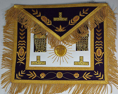Hand Embroidered Grand Lodge Past Master Mason Apron With Gold Fringe