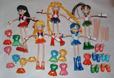 "Set of 5 Original SAILOR MOON 8"" Bendy Bendable Toy Dolls 2003 Bandai"