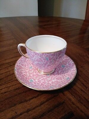 Sampson Smith Old Royal Bone China cup and saucer Pink  blue flowers gold trim