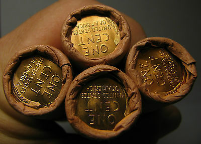 4 ROLLS MYSTERY TAILS/TAILS LINCOLN WHEAT CENT OBW ORIGINAL BANK WRAPPED BU UNCm