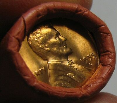 1955 D Obw Original Bank Wrapped Roll Bu Uncirculated Lincoln Wheat Cent Pennies