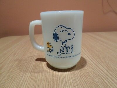 Vintage Fire King Snoopy I'm Not Worth Athing Before Coffee Break! Coffee Mug