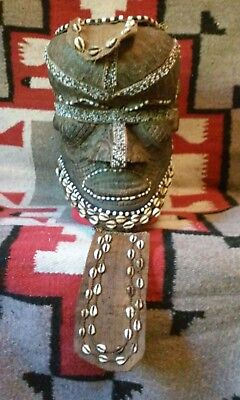 African Congo tribal Kuba Bwoom beaded royal helmet mask