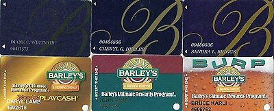 6 different slot cards from Barleys and Bellagio Casinos  Las Vegas.