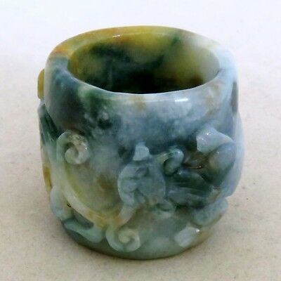 "1.3"" Chinese Carved White, Yellow & Green JADEITE Jade Archer's Ring w/ Chilong"