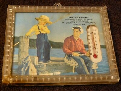 Vintage advertising thermometer framed, Joseph's Grocery phone: 103