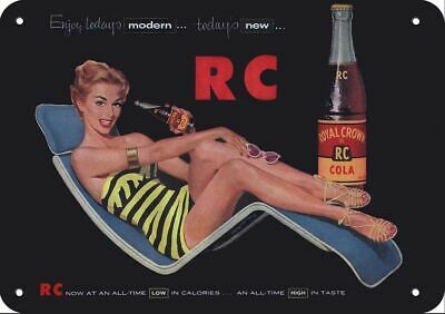 1955 RC ROYAL CROWN COLA Replica Metal Sign SEXY WOMAN SWIMSUIT in RETRO LOUNGER