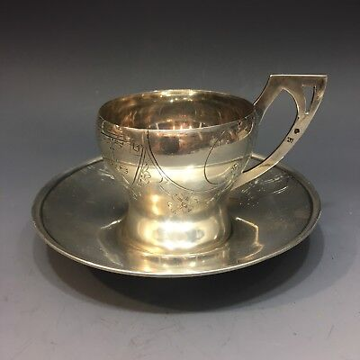 Antique Russian 84 Silver Cup and Saucer Set