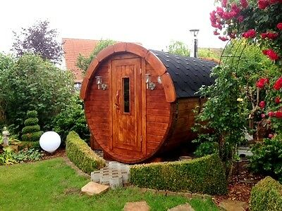 2.4m Wooden Barrel Sauna Log Cabin Log Fired Sauna - 2.27m diameter