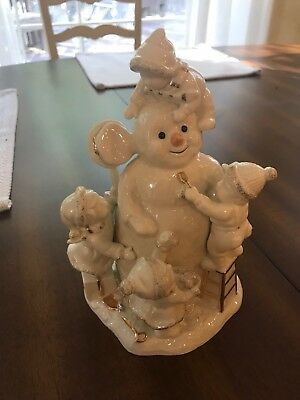 Lenox Home for the Holidays Snowman with Children Ceramic Figurine NEW