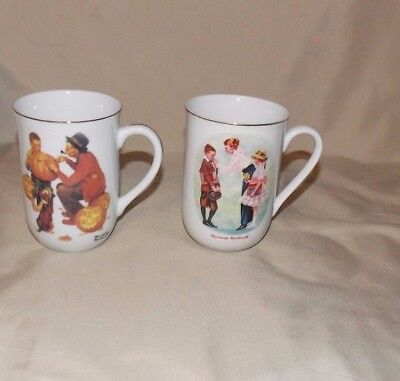 Norman Rockwell Museum Coffee Mug 1st Day School, Grand Pals Grands Amis Lot 2