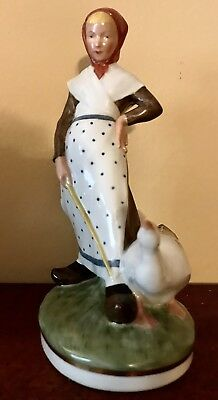 Antique Denmark Royal Copenhagen Porcelain Figurine Of Girl And Goose Rare Color