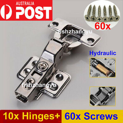 10x Cabinet Cupboard Door Hinge Soft Close Full Overlay Kitchen Wardrobe Hinges