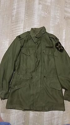 Vintage Army Officers Coat, Mans, Field, Olive Green 107, M-1951 Colonel 2nd ID