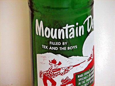 """Mountain Dew 10oz. hillbilly ACL pop bottle; """"FILLED BY TEX AND THE BOYS"""""""