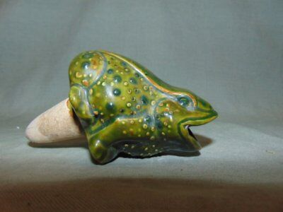 Vintage Green Pottery Plant Flower Water Spike Frog