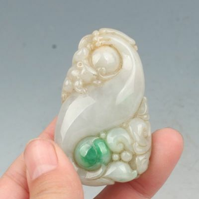Chinese Exquisite Hand-carved animal Coins carving Jadeite jade Pendant