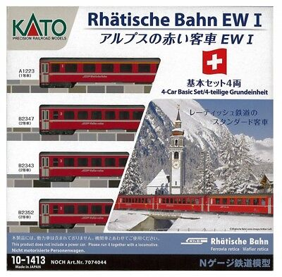 Kato 10-1413 Swiss Alpine Red Passenger Car Coach EW-I 4 Cars Set N scale