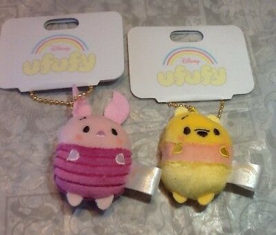 Authentic Disney Store Japan Pooh And Piglet Ufufy Small Keychain Plush