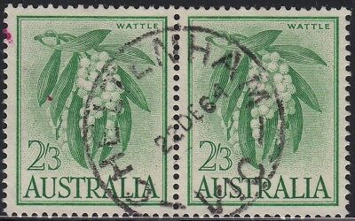 1964 2/3d Wattle white paper, used pair