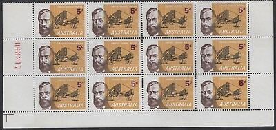 1965 5d Hargrave sheet number block of 12, mnh
