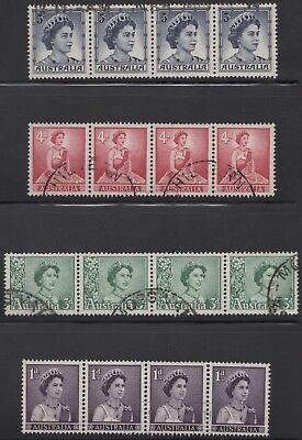 1959 QE2 4 values (1d, 3d, 4d & 5d) as strips of 4, used