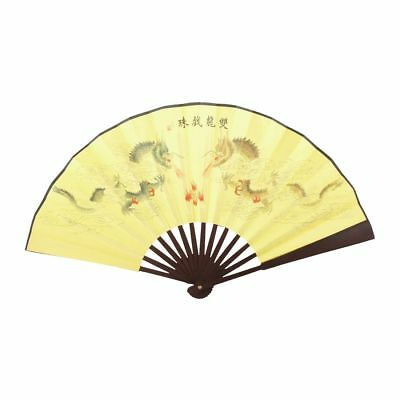 Double Dragons Poem Oriental Painting bamboo Ribs Foldable Hand Fan H9O1 I4G9