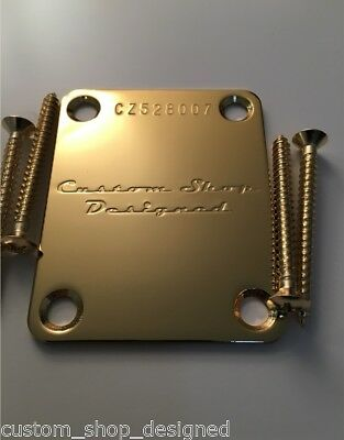 Custom Shop Designed Guitar Neck Plate GOLD w/ serial # for strat or tele