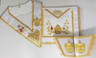 Masonic Hand Embroidered Bullion Wire 33rd Degree A.A.S.R Set Wing Down