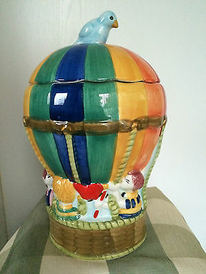 Cookie Jar Colorful Hot Air Balloon Children Blue Bird Ceramic 13 ″ tall