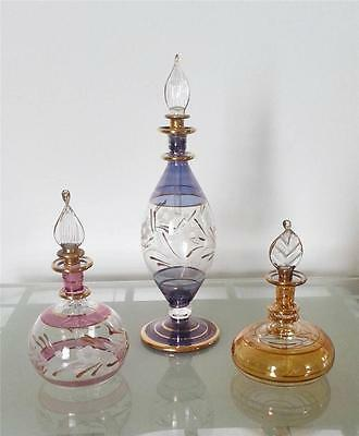Egyptian Perfume Bottles x 3 SOLID 18K gold Hand Made Pyrex Glass XL MUST SEE