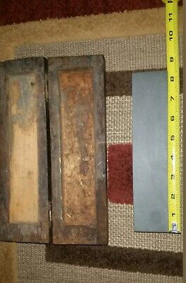 Vintage Labeled Escher Razor Hone Sharpening Water Stone In Wooden Box See Pics.